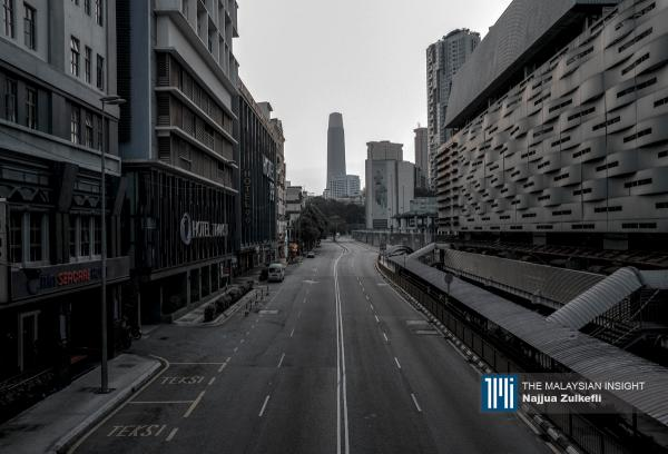 An empty Jalan Pudu in Kuala Lumpur on the 12th day of the MCO as part of efforts to contain the coronavirus. – The Malaysian Insight pic by Najjua Zulkefli, April 1, 2020.
