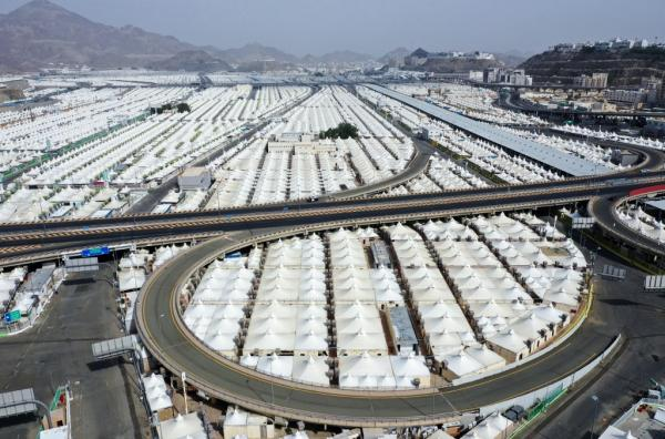An aerial picture of pilgrims' housing tents near the Arafat mountain in Mecca. Saudi Arabia is hosting the annual haj pilgrimage, which is dramatically downscaled due to the coronavirus pandemic and has barred millions of international pilgrims for the first time in modern history. – AFP pic, July 31, 2020.