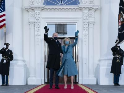 US President Joe Biden and First Lady Jill Biden waving as they arrive at the White House in Washington, DC. – AFP pic, January 21, 2021.