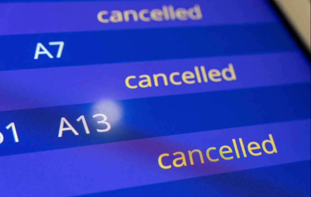 An information board showing cancelled flights at Frankfurt airport, Germany, yesterday. Germany has more than 6,700 confirmed Covid-19 cases, making Europe now the worst-hit area after China with the virus. – EPA pic, March 17, 2020.