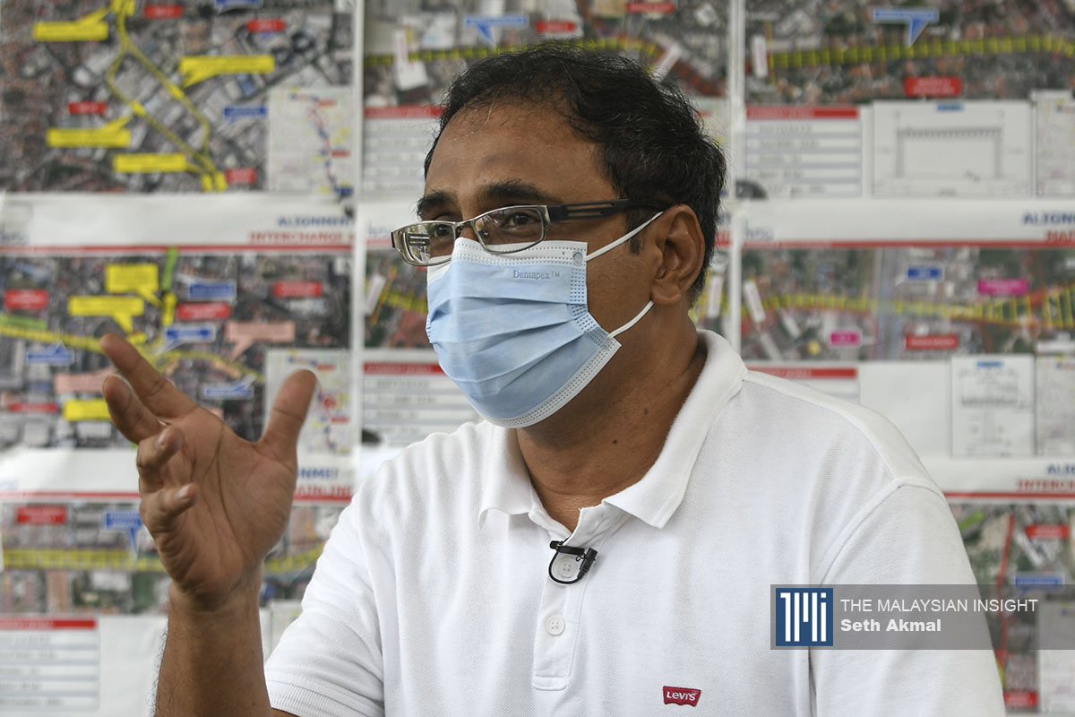 Leader of the Coalition Against PJD Link Sheikh Moqhtar Kadir says despite assurances given by state authorities that the project will not move ahead, Petaling Jaya dwellers are puzzled as to why project developers have now been given approval to engage with residents. – The Malaysian Insight pic by Seth Akmal, August 24, 2021.